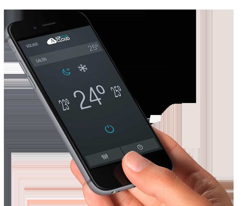 Smartphone que muestra la interfaz Airzone Cloud